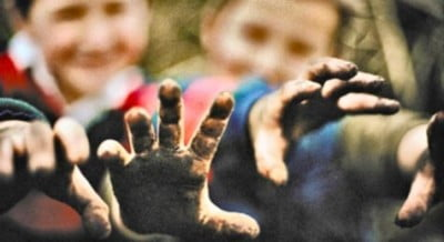 Kids with dirty hands and germs