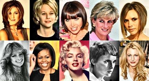 Popular celebrities' hairstyles