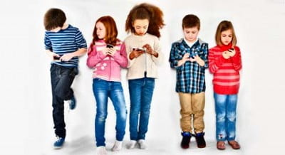 Children busy with gadgets